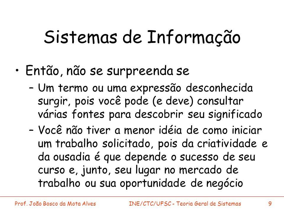 Prof. João Bosco da Mota AlvesINE/CTC/UFSC - Teoria Geral de Sistemas9 Sistemas de Informação Então, não se surpreenda se –Um termo ou uma expressão d