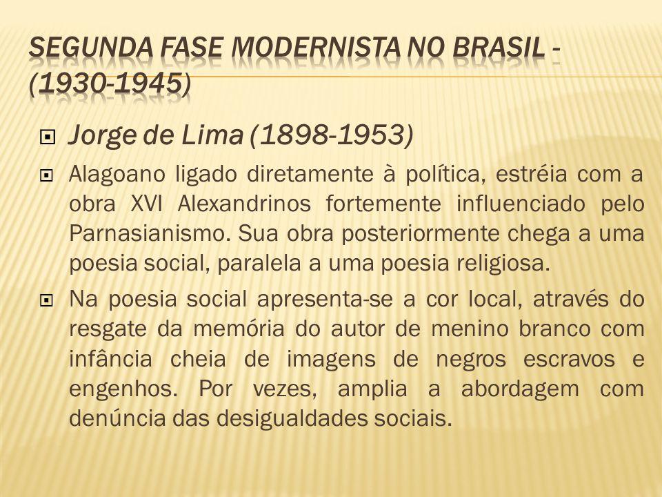 Jorge de Lima (1898-1953) Alagoano ligado diretamente à política, estréia com a obra XVI Alexandrinos fortemente influenciado pelo Parnasianismo. Sua