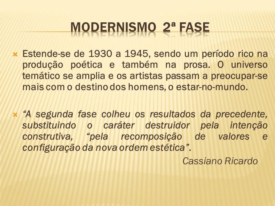 Estende-se de 1930 a 1945, sendo um período rico na produção poética e também na prosa. O universo temático se amplia e os artistas passam a preocupar