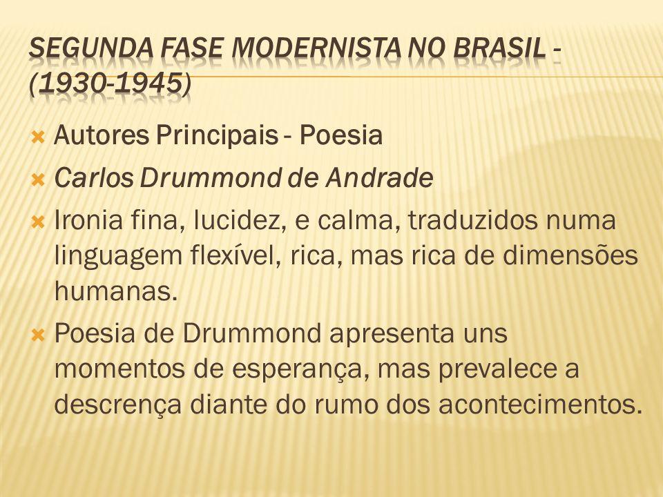 Autores Principais - Poesia Carlos Drummond de Andrade Ironia fina, lucidez, e calma, traduzidos numa linguagem flexível, rica, mas rica de dimensões