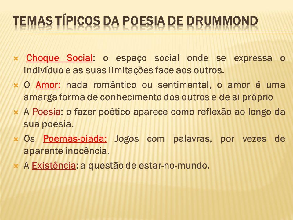 Choque Social: o espaço social onde se expressa o indivíduo e as suas limitações face aos outros. O Amor: nada romântico ou sentimental, o amor é uma