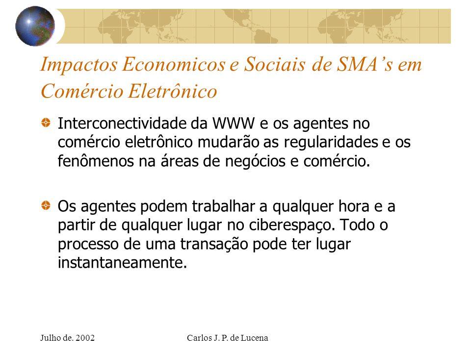 Julho de. 2002Carlos J. P. de Lucena Impactos Economicos e Sociais de SMAs em Comércio Eletrônico Interconectividade da WWW e os agentes no comércio e