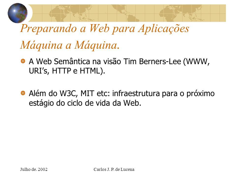 Julho de. 2002Carlos J. P. de Lucena Preparando a Web para Aplicações Máquina a Máquina. A Web Semântica na visão Tim Berners-Lee (WWW, URIs, HTTP e H
