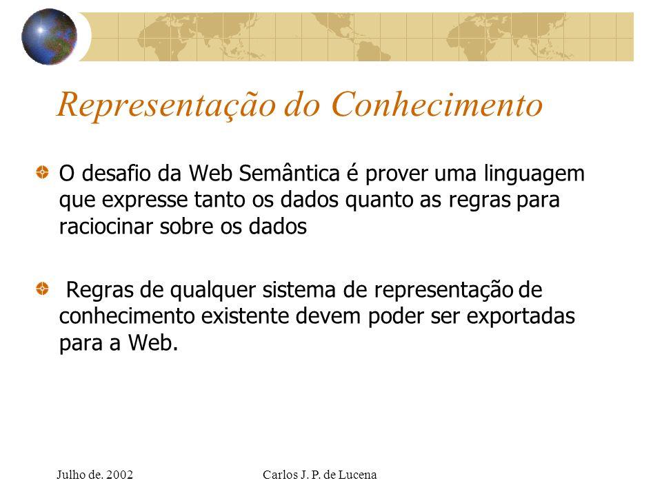 Julho de. 2002Carlos J. P. de Lucena Representação do Conhecimento O desafio da Web Semântica é prover uma linguagem que expresse tanto os dados quant