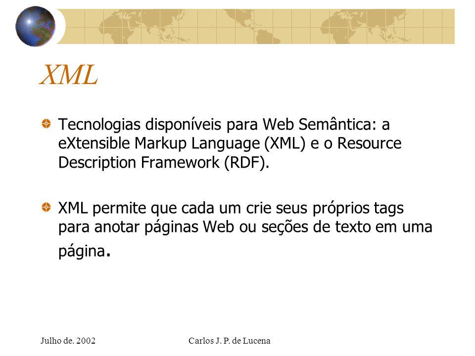 Julho de. 2002Carlos J. P. de Lucena XML Tecnologias disponíveis para Web Semântica: a eXtensible Markup Language (XML) e o Resource Description Frame