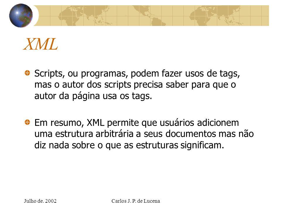 Julho de. 2002Carlos J. P. de Lucena XML Scripts, ou programas, podem fazer usos de tags, mas o autor dos scripts precisa saber para que o autor da pá