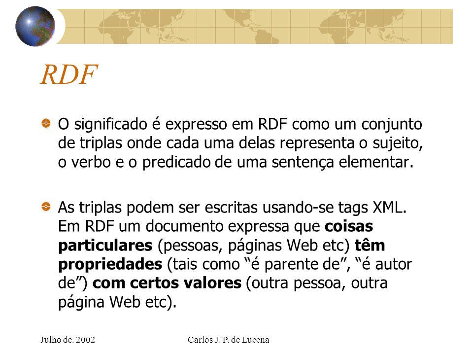 Julho de. 2002Carlos J. P. de Lucena RDF O significado é expresso em RDF como um conjunto de triplas onde cada uma delas representa o sujeito, o verbo