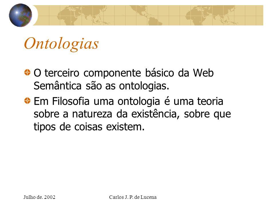 Julho de. 2002Carlos J. P. de Lucena Ontologias O terceiro componente básico da Web Semântica são as ontologias. Em Filosofia uma ontologia é uma teor