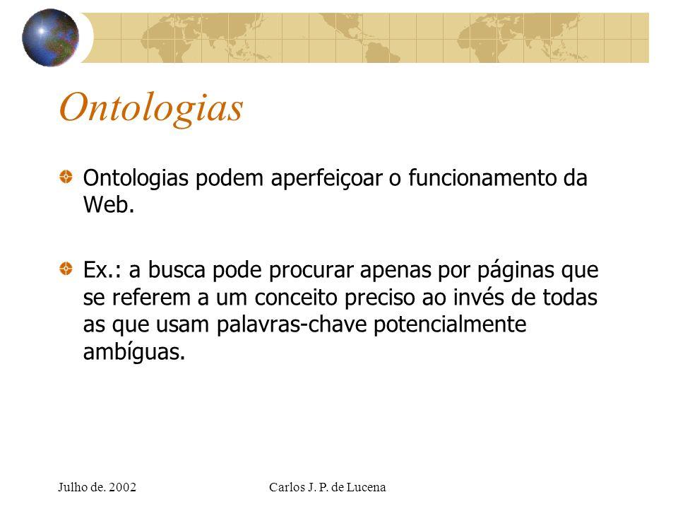Julho de. 2002Carlos J. P. de Lucena Ontologias Ontologias podem aperfeiçoar o funcionamento da Web. Ex.: a busca pode procurar apenas por páginas que