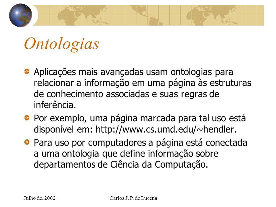 Julho de. 2002Carlos J. P. de Lucena Ontologias Aplicações mais avançadas usam ontologias para relacionar a informação em uma página às estruturas de