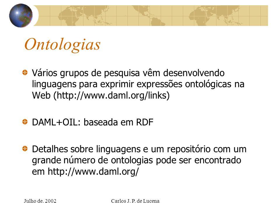 Julho de. 2002Carlos J. P. de Lucena Ontologias Vários grupos de pesquisa vêm desenvolvendo linguagens para exprimir expressões ontológicas na Web (ht
