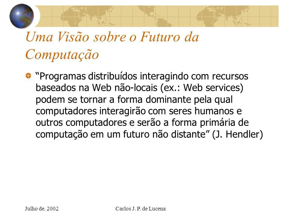 Julho de. 2002Carlos J. P. de Lucena Uma Visão sobre o Futuro da Computação Programas distribuídos interagindo com recursos baseados na Web não-locais