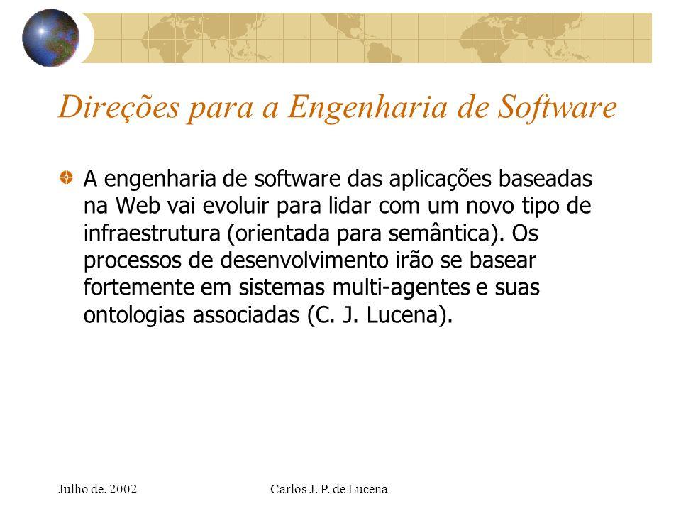 Julho de. 2002Carlos J. P. de Lucena Direções para a Engenharia de Software A engenharia de software das aplicações baseadas na Web vai evoluir para l