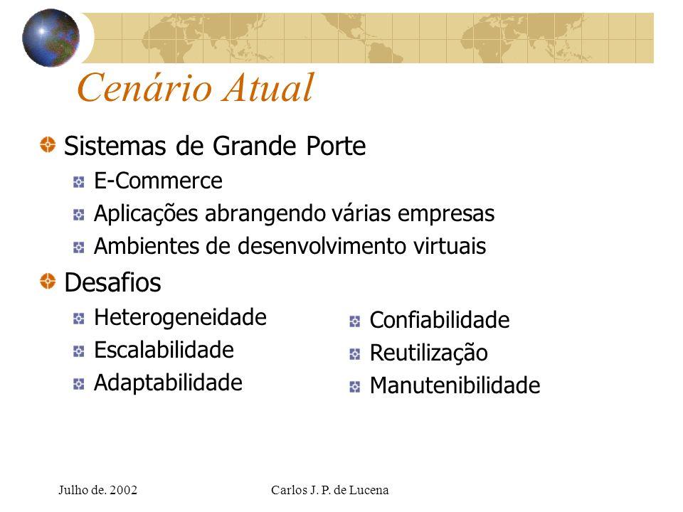 Julho de. 2002Carlos J. P. de Lucena Cenário Atual Sistemas de Grande Porte E-Commerce Aplicações abrangendo várias empresas Ambientes de desenvolvime