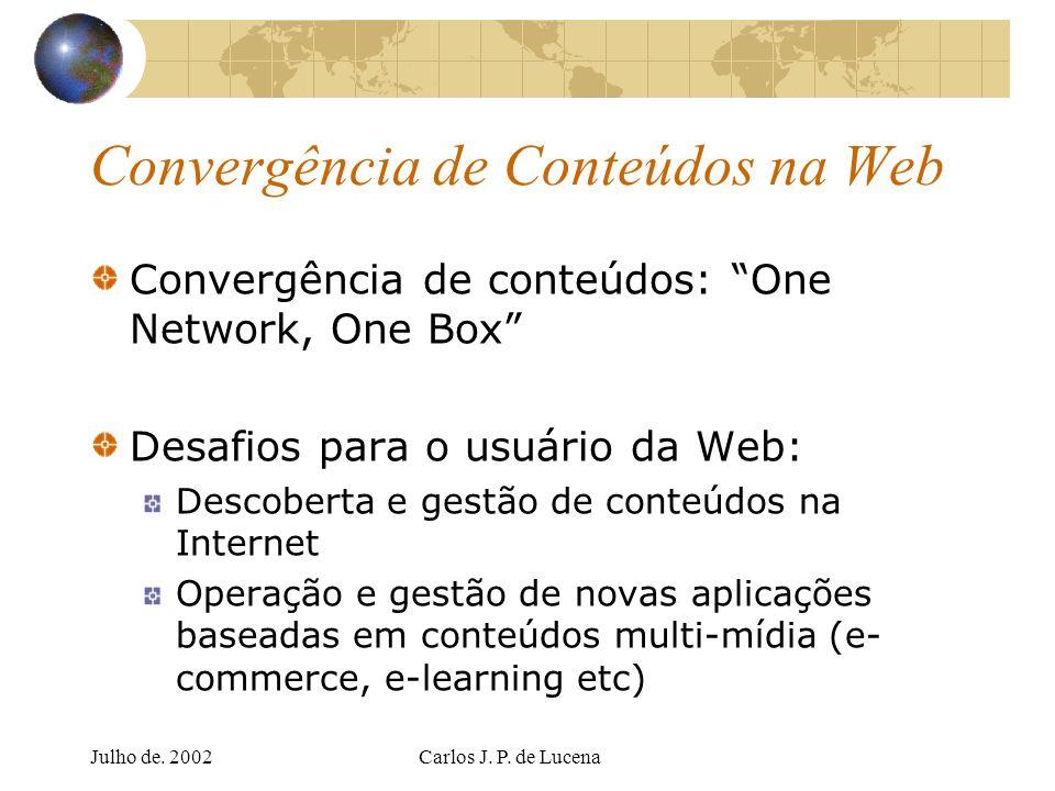 Julho de. 2002Carlos J. P. de Lucena Convergência de Conteúdos na Web Convergência de conteúdos: One Network, One Box Desafios para o usuário da Web: