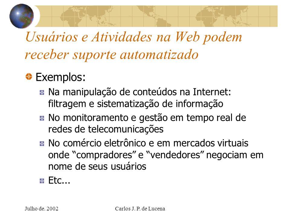 Julho de. 2002Carlos J. P. de Lucena Usuários e Atividades na Web podem receber suporte automatizado Exemplos: Na manipulação de conteúdos na Internet