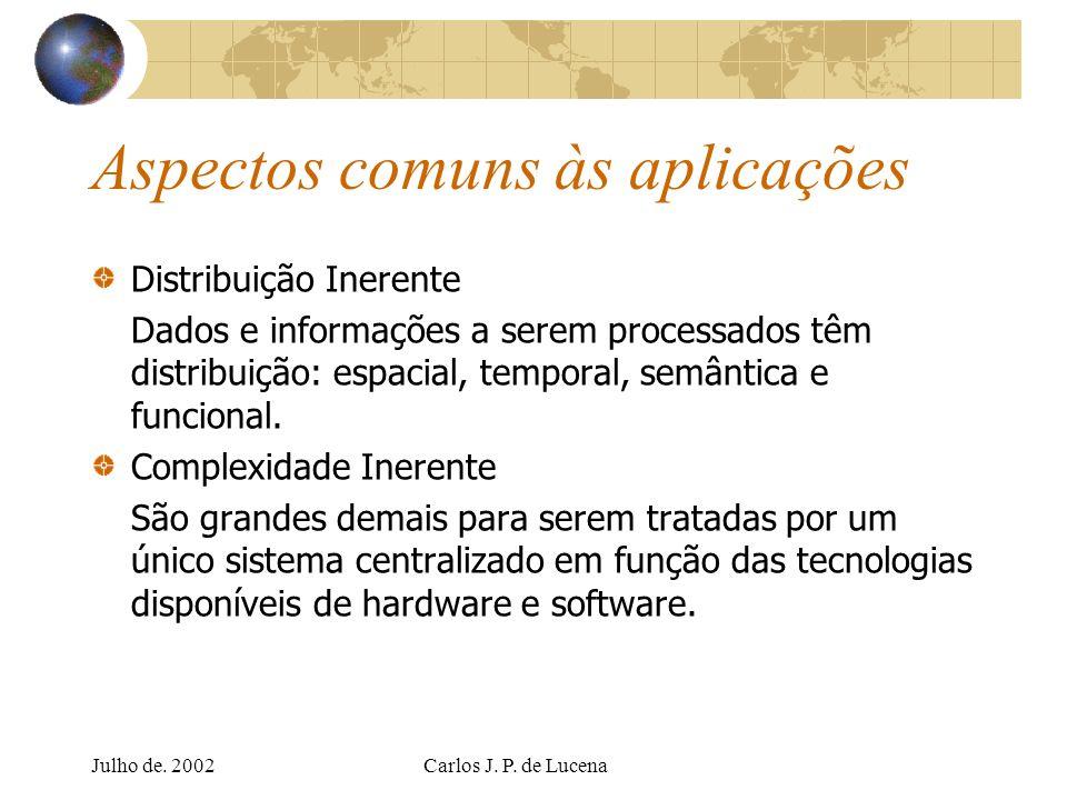 Julho de. 2002Carlos J. P. de Lucena Aspectos comuns às aplicações Distribuição Inerente Dados e informações a serem processados têm distribuição: esp