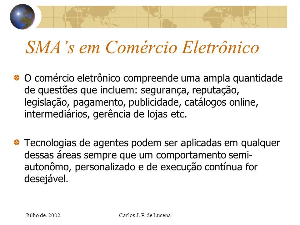 Julho de. 2002Carlos J. P. de Lucena SMAs em Comércio Eletrônico O comércio eletrônico compreende uma ampla quantidade de questões que incluem: segura