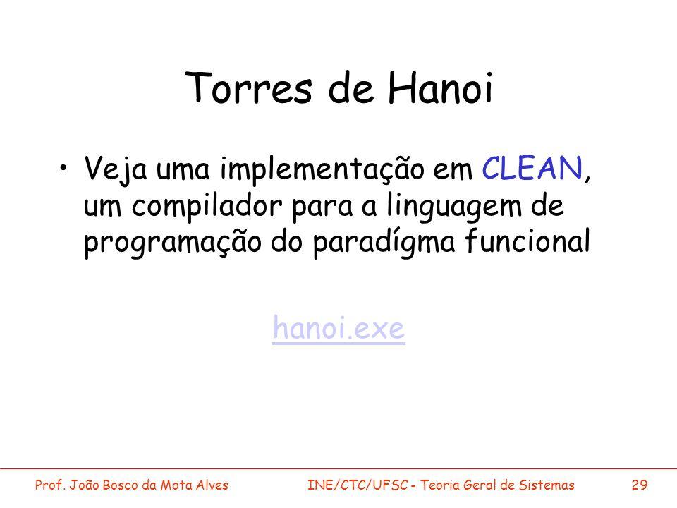 Prof. João Bosco da Mota AlvesINE/CTC/UFSC - Teoria Geral de Sistemas29 Torres de Hanoi Veja uma implementação em CLEAN, um compilador para a linguage