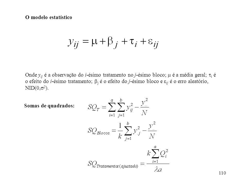 110 O modelo estatístico Onde y ij é a observação do i-ésimo tratamento no j-ésimo bloco; é a média geral; i é o efeito do i-ésimo tratamento; j é o e