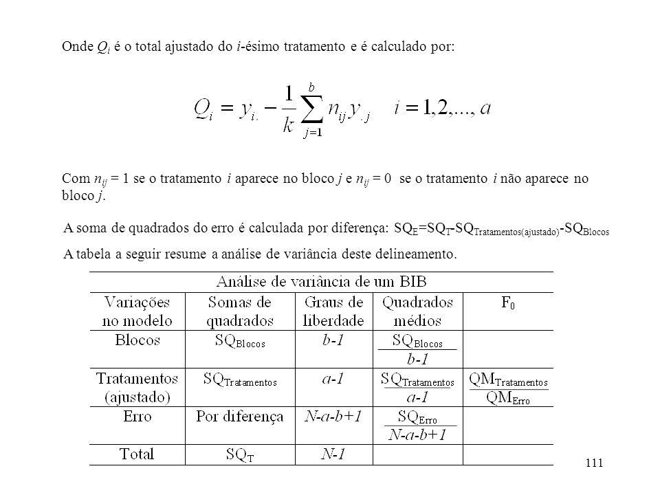 111 Onde Q i é o total ajustado do i-ésimo tratamento e é calculado por: Com n ij = 1 se o tratamento i aparece no bloco j e n ij = 0 se o tratamento