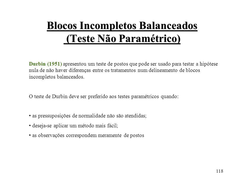 118 Blocos Incompletos Balanceados (Teste Não Paramétrico) Durbin (1951) apresentou um teste de postos que pode ser usado para testar a hipótese nula