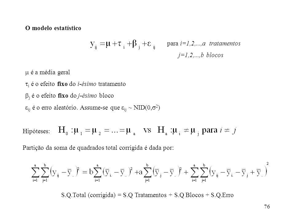 76 O modelo estatístico para i=1,2,...,a tratamentos j=1,2,...,b blocos é a média geral i é o efeito fixo do i-ésimo tratamento j é o efeito fixo do j