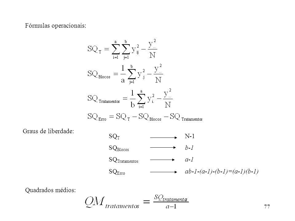 78 Esperanças dos quadrados médios: Teste de igualdade de médias de tratamentos (Teste F) Rejeita-se H 0 se F 0 > F,a-1,(a-1)(b-1) Usar o valor p do teste (p-value).