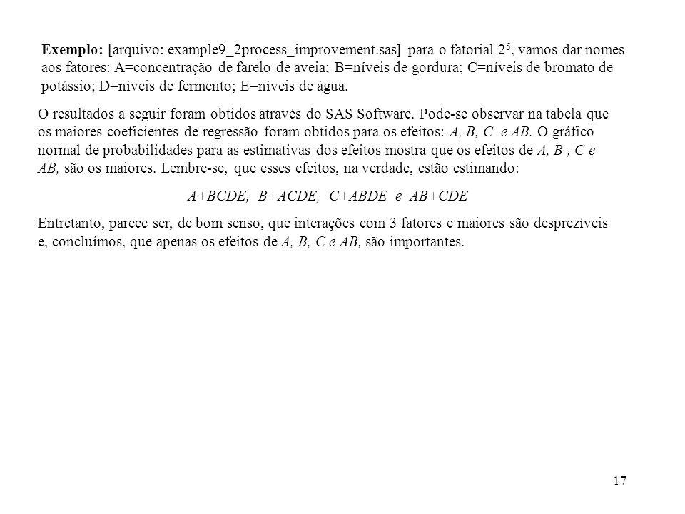 17 Exemplo: [arquivo: example9_2process_improvement.sas] para o fatorial 2 5, vamos dar nomes aos fatores: A=concentração de farelo de aveia; B=níveis