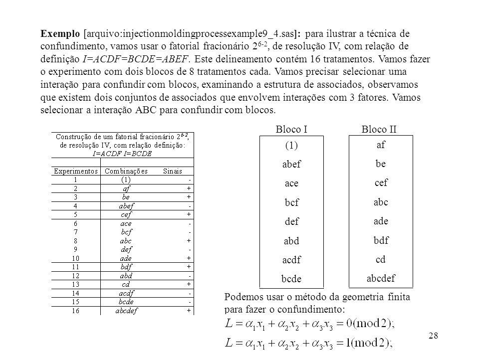 28 Exemplo [arquivo:injectionmoldingprocessexample9_4.sas]: para ilustrar a técnica de confundimento, vamos usar o fatorial fracionário 2 6-2, de reso