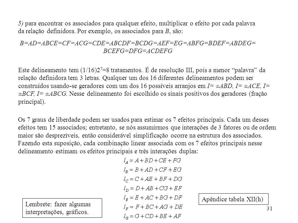 31 5) para encontrar os associados para qualquer efeito, multiplicar o efeito por cada palavra da relação definidora. Por exemplo, os associados para