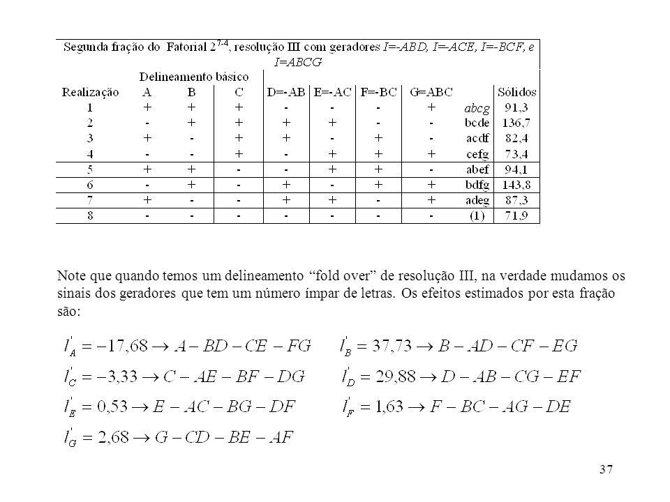 37 Note que quando temos um delineamento fold over de resolução III, na verdade mudamos os sinais dos geradores que tem um número ímpar de letras. Os