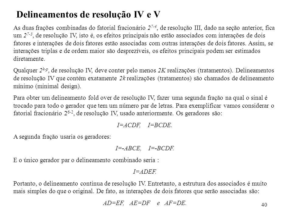 40 Delineamentos de resolução IV e V As duas frações combinadas do fatorial fracionário 2 7-4, de resolução III, dado na seção anterior, fica um 2 7-3