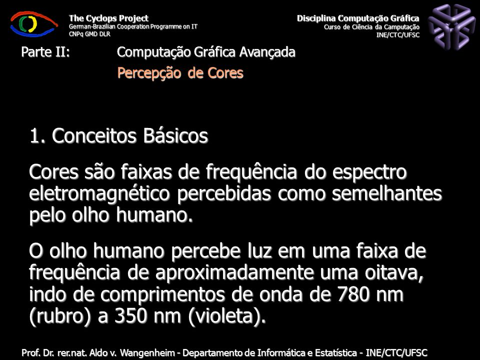 The Cyclops Project German-Brazilian Cooperation Programme on IT CNPq GMD DLR Departamento de Informática e Estatística - INE/CTC/UFSC Computação Gráfica: 11.