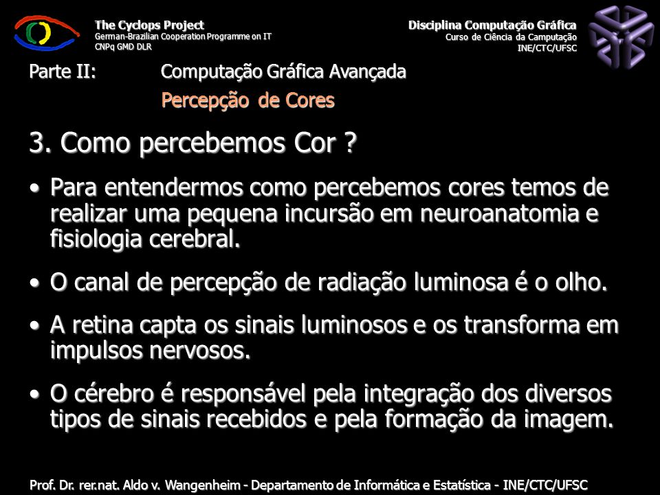 The Cyclops Project German-Brazilian Cooperation Programme on IT CNPq GMD DLR Departamento de Informática e Estatística - INE/CTC/UFSC Computação Gráf