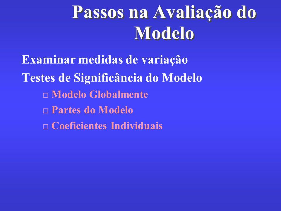 Passos na Avaliação do Modelo Examinar medidas de variação Testes de Significância do Modelo Modelo Globalmente Partes do Modelo Coeficientes Individu