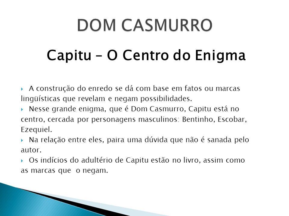 Capitu – O Centro do Enigma A construção do enredo se dá com base em fatos ou marcas lingüísticas que revelam e negam possibilidades. Nesse grande eni