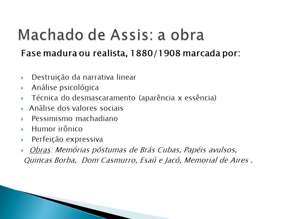 Fase madura ou realista, 1880/1908 marcada por: Destruição da narrativa linear Análise psicológica Técnica do desmascaramento (aparência x essência) A