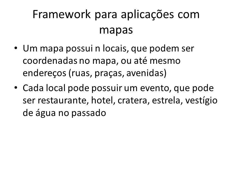 Framework para aplicações com mapas Um mapa possui n locais, que podem ser coordenadas no mapa, ou até mesmo endereços (ruas, praças, avenidas) Cada local pode possuir um evento, que pode ser restaurante, hotel, cratera, estrela, vestígio de água no passado