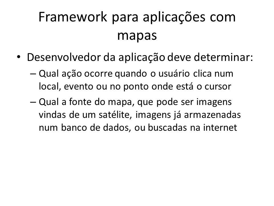 Framework para aplicações com mapas Desenvolvedor da aplicação deve determinar: – Qual ação ocorre quando o usuário clica num local, evento ou no ponto onde está o cursor – Qual a fonte do mapa, que pode ser imagens vindas de um satélite, imagens já armazenadas num banco de dados, ou buscadas na internet