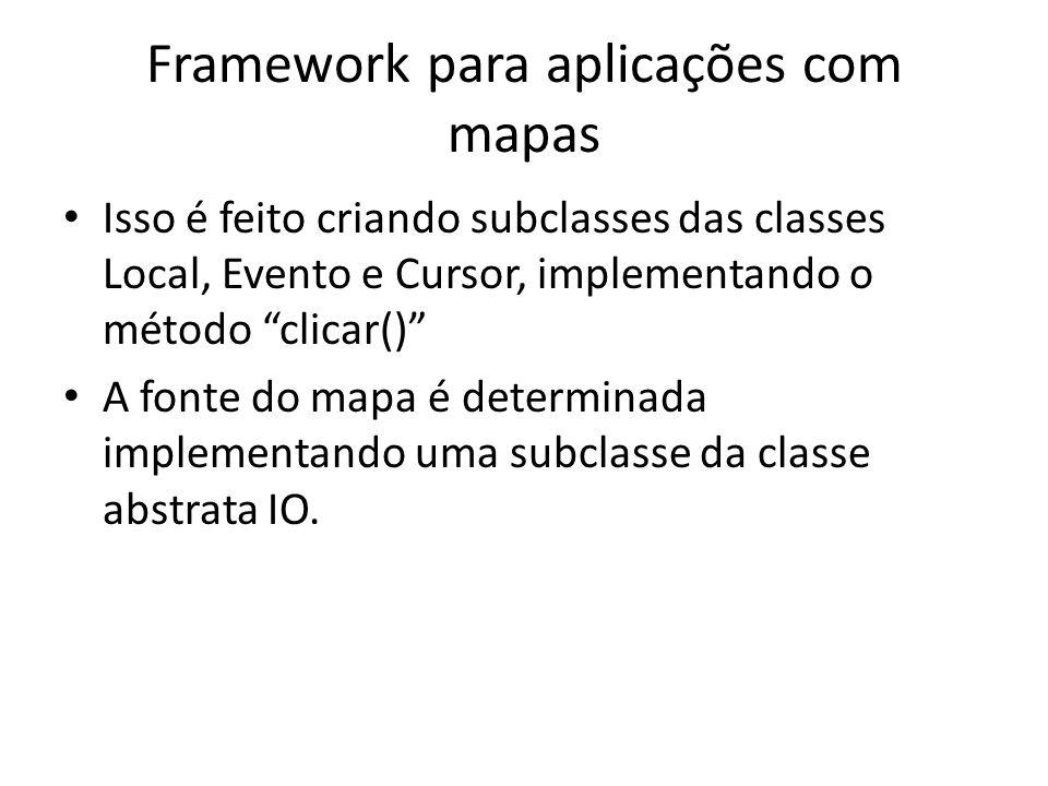 Framework para aplicações com mapas Isso é feito criando subclasses das classes Local, Evento e Cursor, implementando o método clicar() A fonte do mapa é determinada implementando uma subclasse da classe abstrata IO.