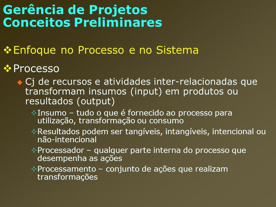 Enfoque no Processo e no Sistema Sistema Gerência de Projetos Conceitos Preliminares