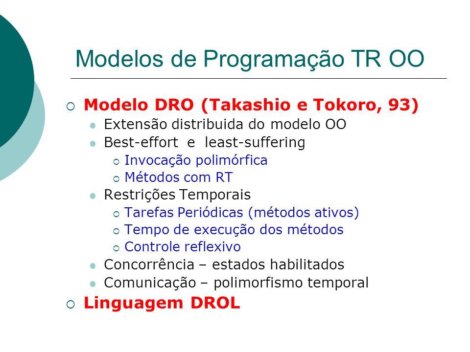 Modelos de Programação TR OO Modelo DRO (Takashio e Tokoro, 93) Extensão distribuida do modelo OO Best-effort e least-suffering Invocação polimórfica