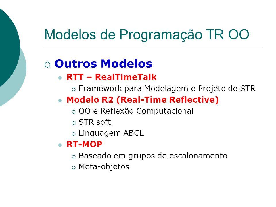 Modelos de Programação TR OO Outros Modelos RTT – RealTimeTalk Framework para Modelagem e Projeto de STR Modelo R2 (Real-Time Reflective) OO e Reflexã