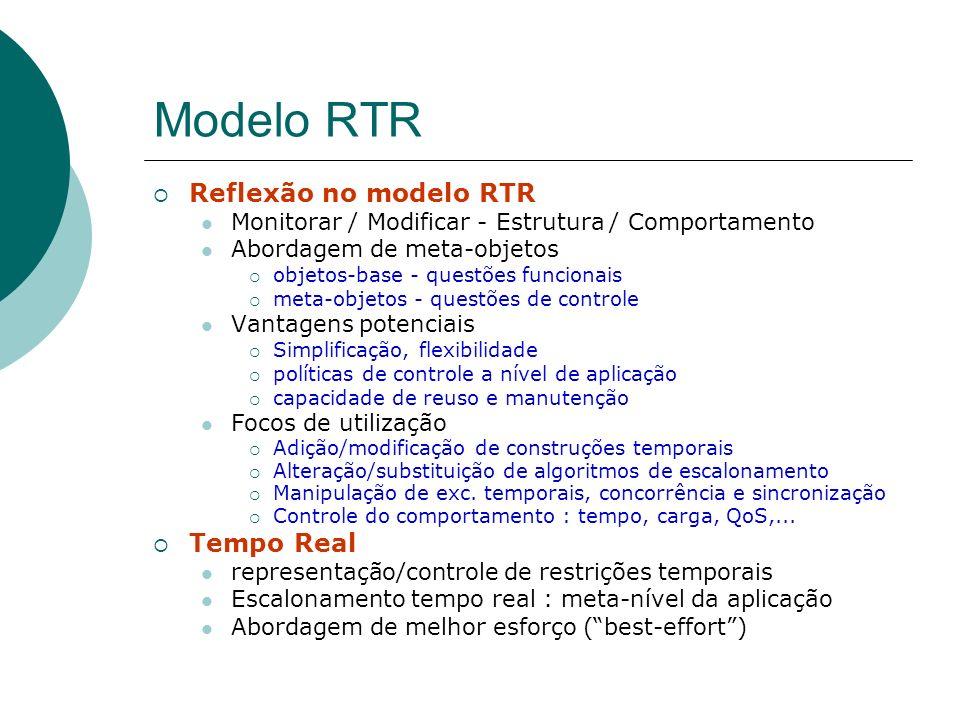 Modelo RTR Reflexão no modelo RTR Monitorar / Modificar - Estrutura / Comportamento Abordagem de meta-objetos objetos-base - questões funcionais meta-