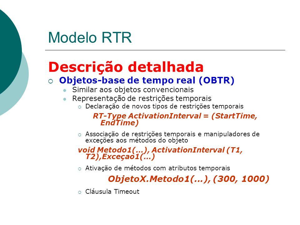 Modelo RTR Descrição detalhada Objetos-base de tempo real (OBTR) Similar aos objetos convencionais Representação de restrições temporais Declaração de