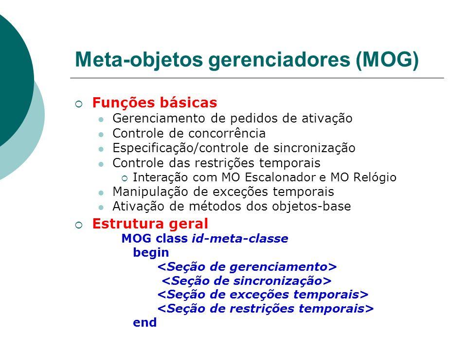 Meta-objetos gerenciadores (MOG) Funções básicas Gerenciamento de pedidos de ativação Controle de concorrência Especificação/controle de sincronização