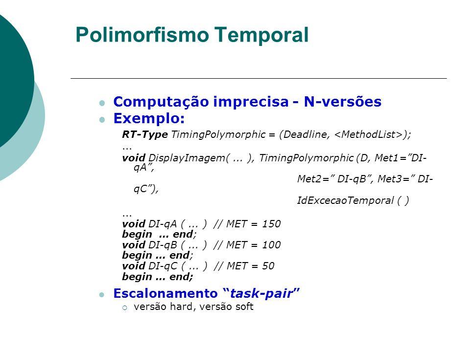 Polimorfismo Temporal Computação imprecisa - N-versões Exemplo: RT-Type TimingPolymorphic = (Deadline, );... void DisplayImagem(... ), TimingPolymorph