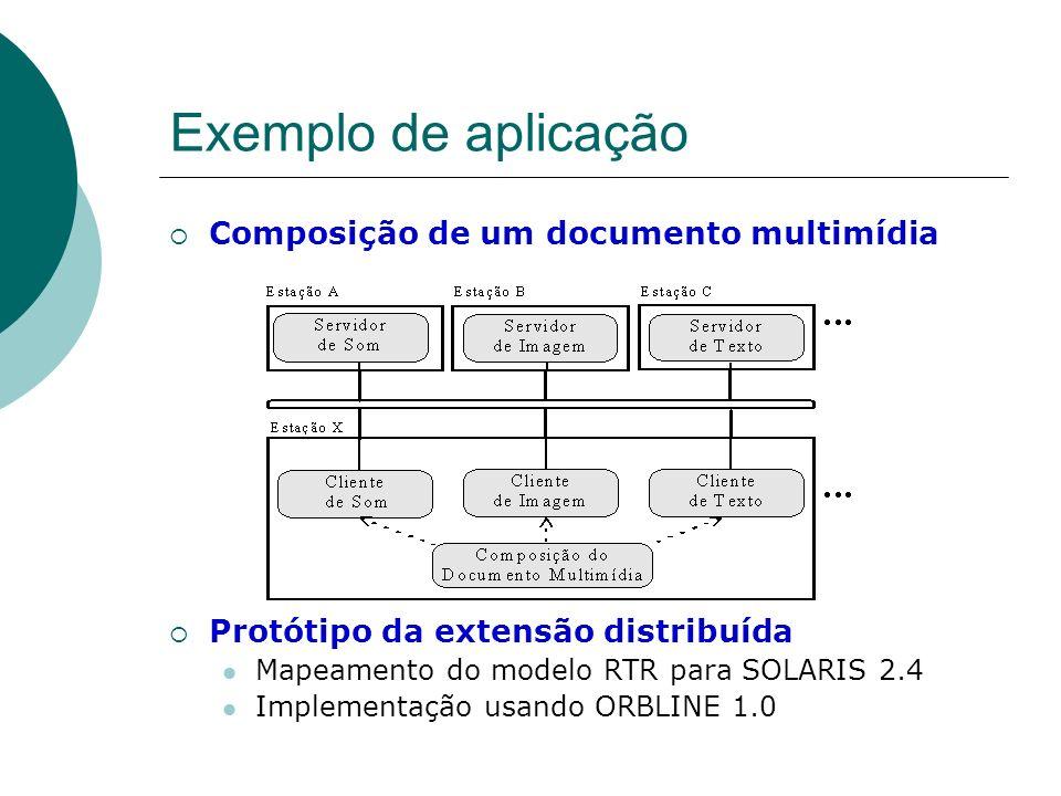 Exemplo de aplicação Composição de um documento multimídia Protótipo da extensão distribuída Mapeamento do modelo RTR para SOLARIS 2.4 Implementação u