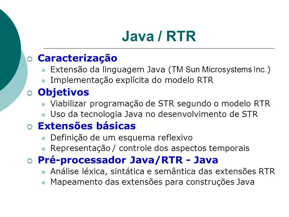 Java / RTR Caracterização Extensão da linguagem Java ( TM Sun Microsystems Inc. ) Implementação explícita do modelo RTR Objetivos Viabilizar programaç